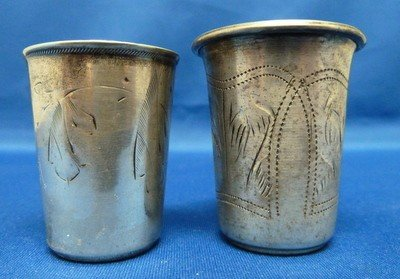 66: TWO ANTIQUE STERLING RUSSIAN KIDDISH CUPS