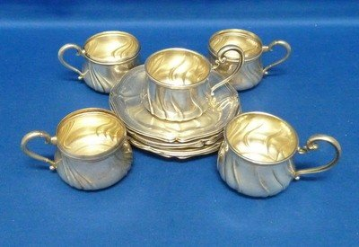 2: SET OF SEVEN STERLING DEMI CUPS & SAUCERS
