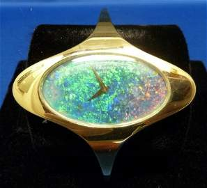 59: CHOPARD 18KT GOLD & OPAL WATCH CUFF