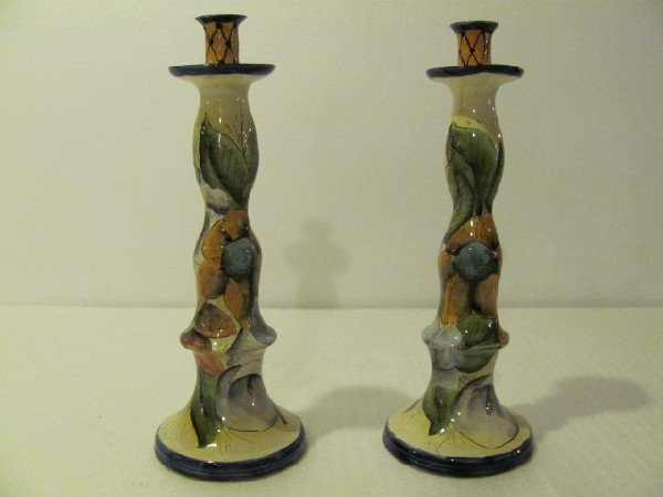 11: Pair of Hand Painted Ceramic Candle sticks