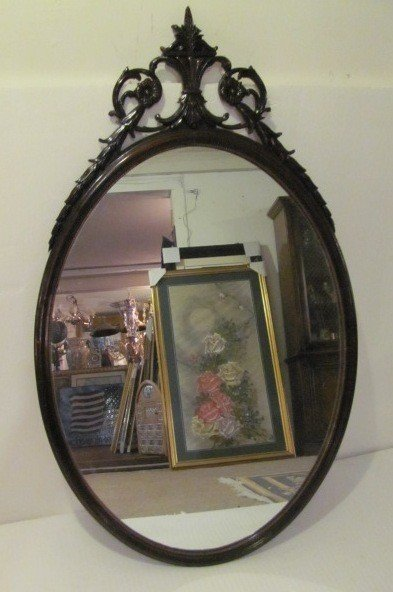 16: Old Wood Cherry Finish Framed Mirror