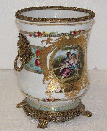 19: Hand Painted Porcelain & Bronze Vase