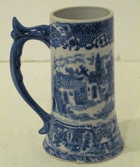 21: Blue & White Hand Painted Porcelain Mug