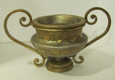 22: Painted & Molded Metal Decorative Urn