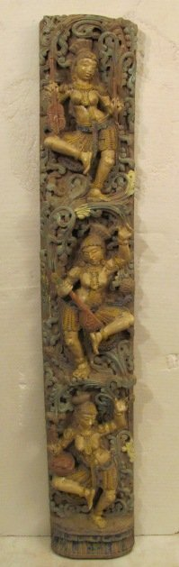 """228: Carved wood Indian statue.  Size: 59.6"""" Tall x 10"""""""