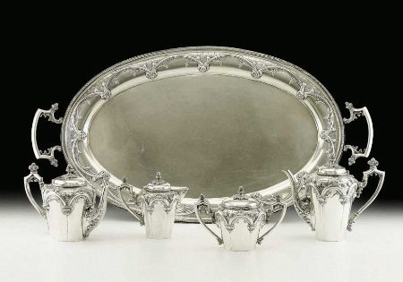 5:  Five piece silver teaset