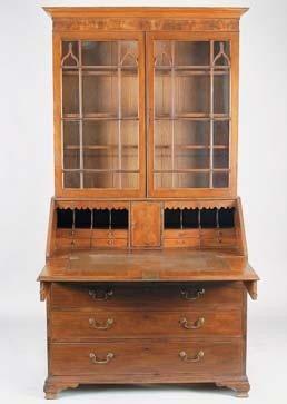 9: George III mahogany Secretaire bookcase