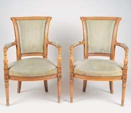 10: Pair of Louis XVI style satinwood fauteils