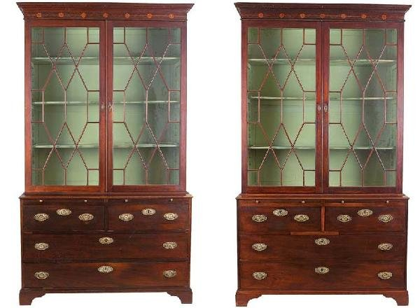 12: Pair of  D. Maria yew display cabinets