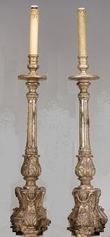 17: Pair of  D. José/D. Maria Silver gilt carved wood,