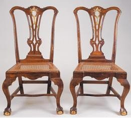 19: Pair of  D. José  walnut carved and guilt chairs