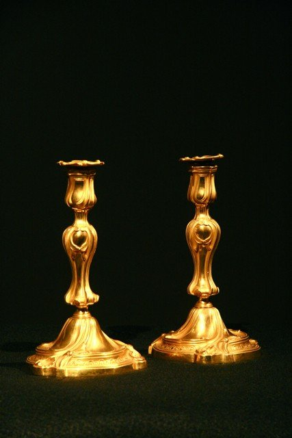93: Pair of Louis XV  candelsticks