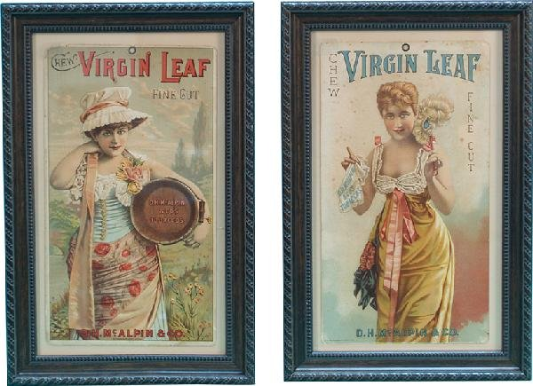 4: Lot Of 2 Old Virgin Leaf Tobacco Cardboard Cards,