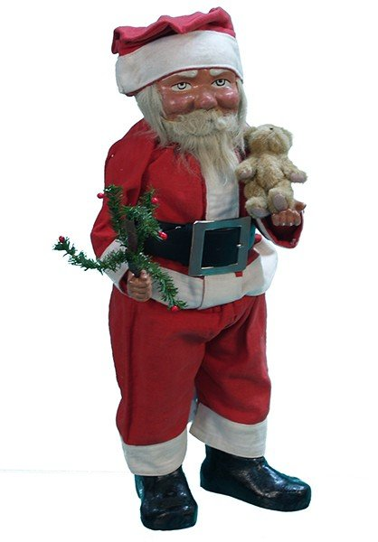 9: Early Countertop Paper Mache Santa Claus Statue Figu