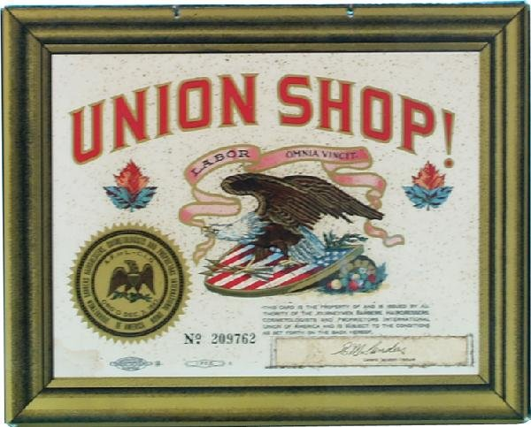 11: Union Shop! Celluloid Hanging Barber Shop Sign