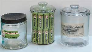 218 Lot Of 3 Glass Chewing Gum Jars
