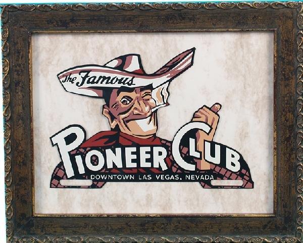 """259: Pioneer Club Casino """"Vegas Vic"""" Die-Cut Tin Licens"""