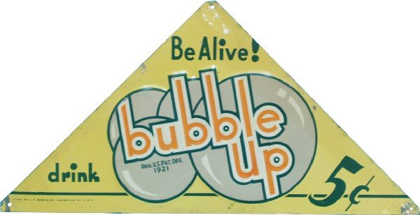 """261: Bubble Up Embossed Triangular Tin Sign - 12"""" x 6"""""""
