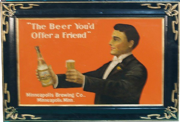 270: Large Minneapolis Brewing Co. Embossed Tin Sign