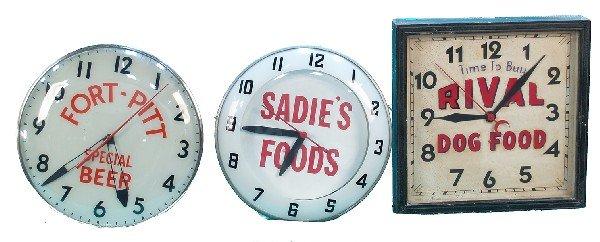 271: Lot Of 3 Light-Up Clocks: