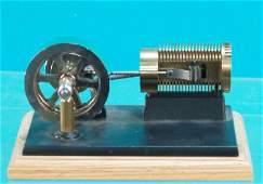403: Horizontal Live Model Steam Engine On Wood Base