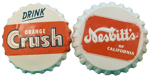 856: Lot Of 2 Embossed Tin Bottle Cap Signs: