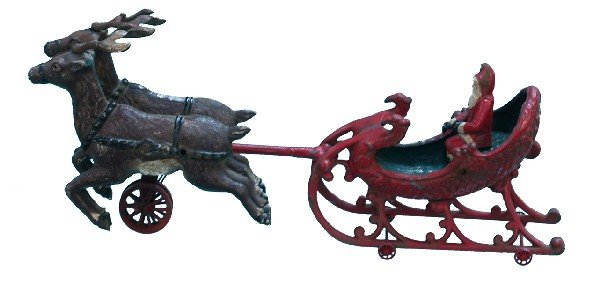 860: Early Cast-Iron Hubley Santa Claus In Sleigh Toy