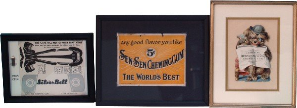862: Lot Of 3 Chewing Gum Advertisement Signs In Frames