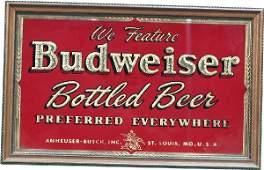 1221: Budweiser Bottled Beer Reverse Glass Sign