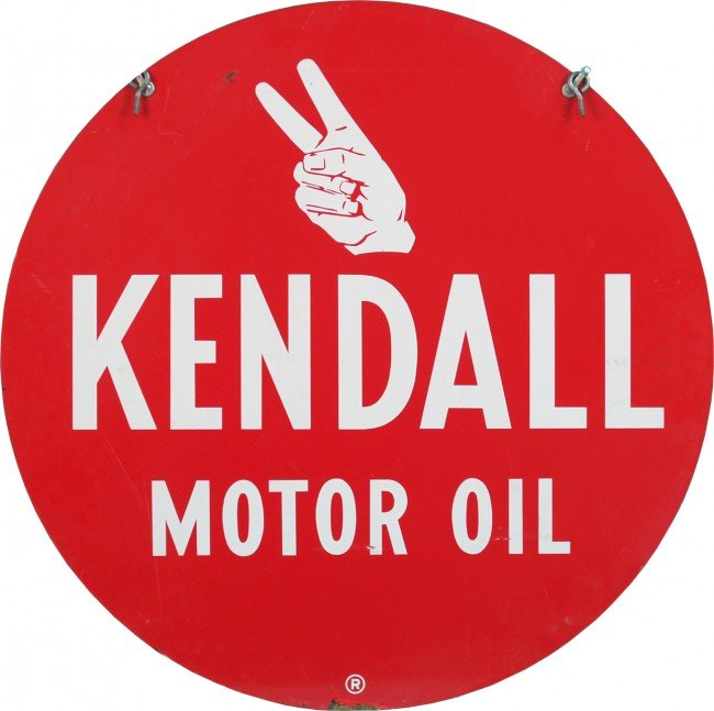 13: Kendall Motor Oil Double Sided Round Tin Sign