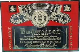 469: Early Budweiser Beer Reverse Glass Mirror Sign - 2