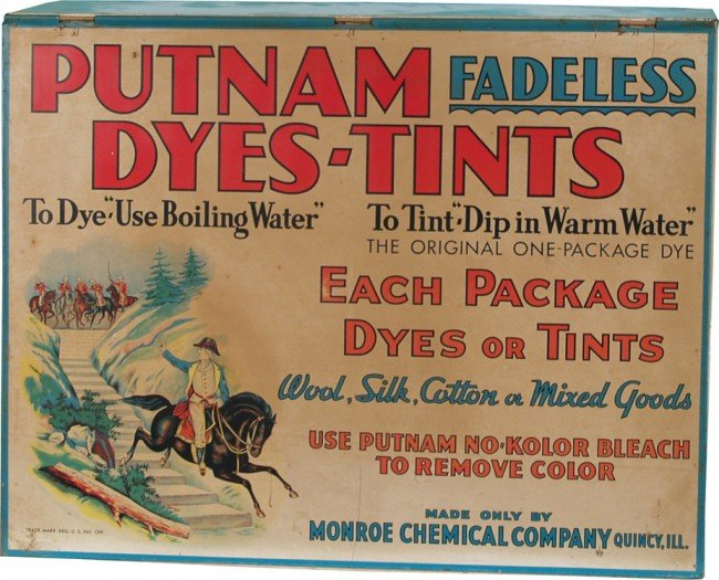 503: Early Store Countertop Tin Putnam Dyes-Tints Displ