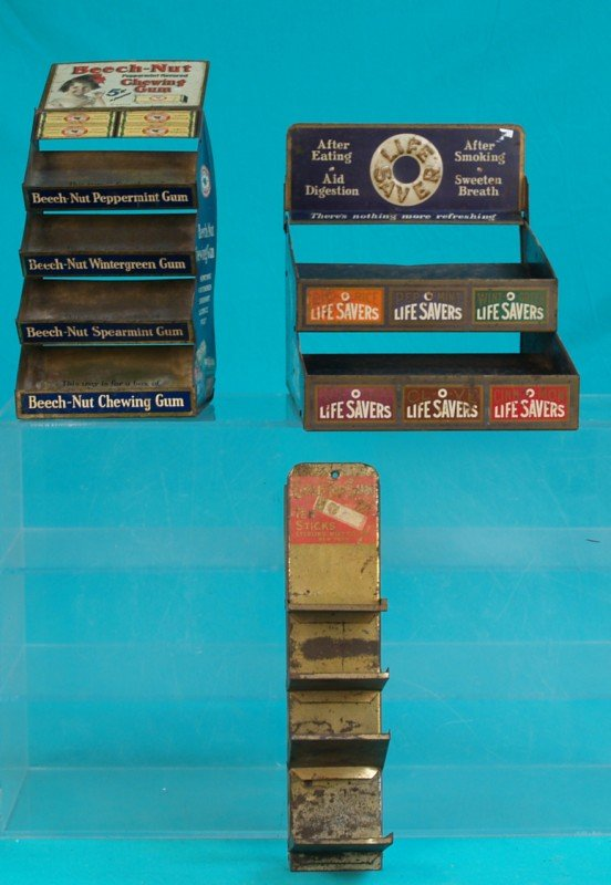 504: Lot Of 3 Early Store Countertop Tin Displays: