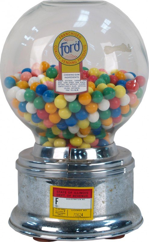 507: Coin-Op Countertop Ford Gumball Vending Machine