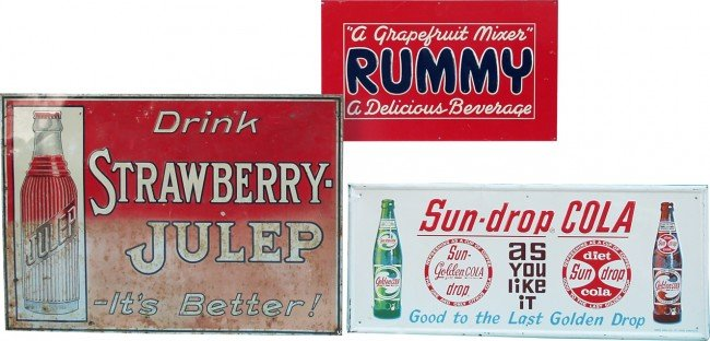 509: Lot Of 3 Embossed Tin Signs: