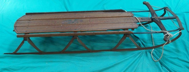 """513: Early Wood & Cast-Iron """"Flexible Flyer"""" Snow Sled"""