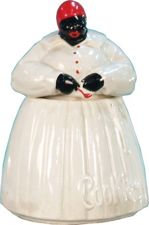 """518: Early Embossed Ceramic McCoy """"Mammy"""" Figure Cookie"""