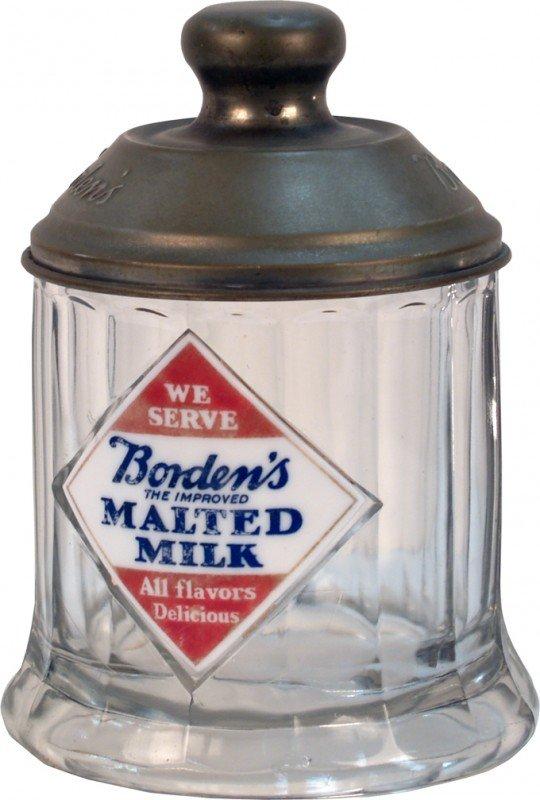 522: Borden's Malted Milk Store Countertop Glass Jar w/