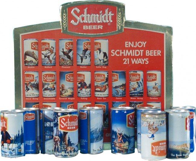 "523: Large Lot Of Schmidt Beer Cans & ""Enjoy Schmidt Be"