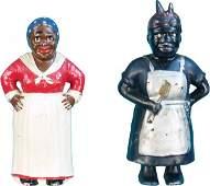 570: Lot Of 2 Cast-Iron Black Americana Still Banks: