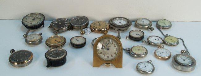 681: Box Lot Of Early Pocket Watches & Small Clocks
