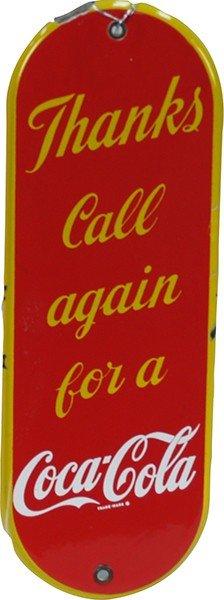 203: Vintage Coca Cola Porcelain Door Push Plate c1930'