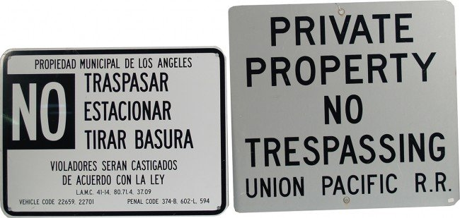 "205: Lot Of 2 Tin """"No Trespassing"""" Signs:"