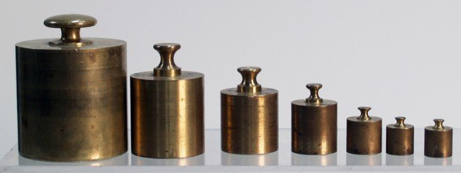 206: Lot Of 7 Brass Weights