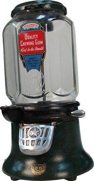 374: 1 Cent Countertop Columbus Model M Gumball Vending