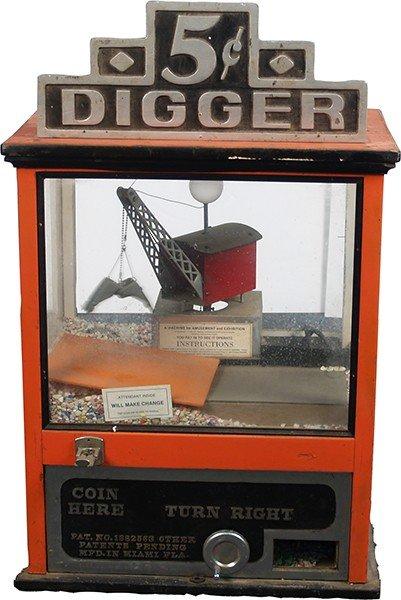 "377: 5 Cent Countertop """"Digger"""" Crane Arcade Amusemen"