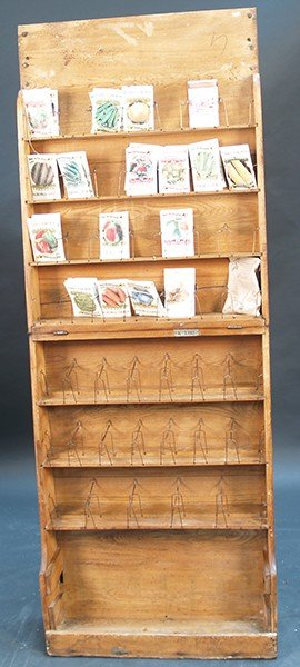 390: Early Wooden Fold-Up Seed Cabinet/Stand c1920's