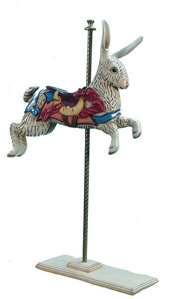 391: Wood Carved Rabbit Figure On Pole