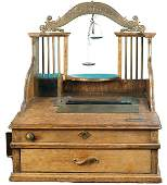 455 Early Wooden  Brass Gold Scale Cash Register