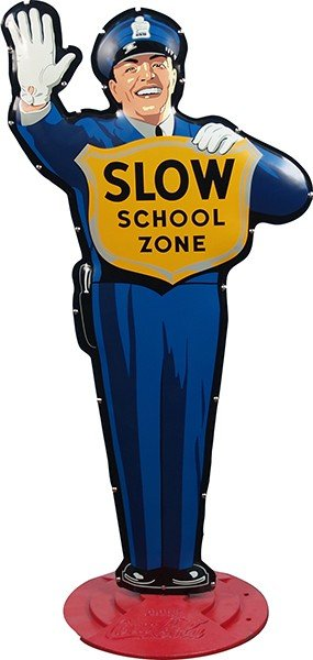 "580: Metal Coca Cola """"Slow School Zone"""" Traffic Cop F"